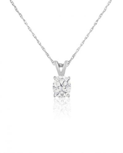 14K WHITE GOLD SOLITAIRE PENDANT NECKLACE
