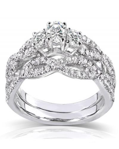 Annello 14k Gold  TDW Diamond Braided  Ring
