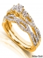 Annello 14k Gold  TDW Diamond Braided  Ring