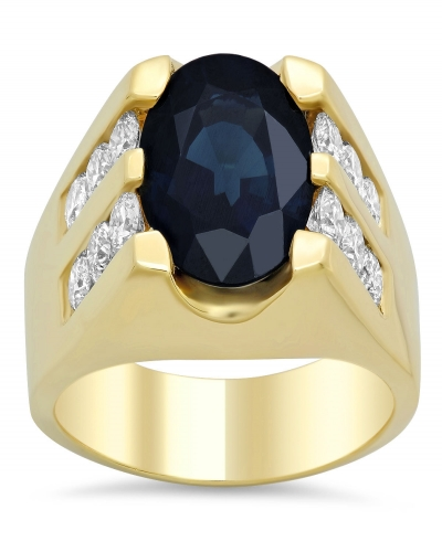 TDW Diamond and Oval Blue Sapphire Ring